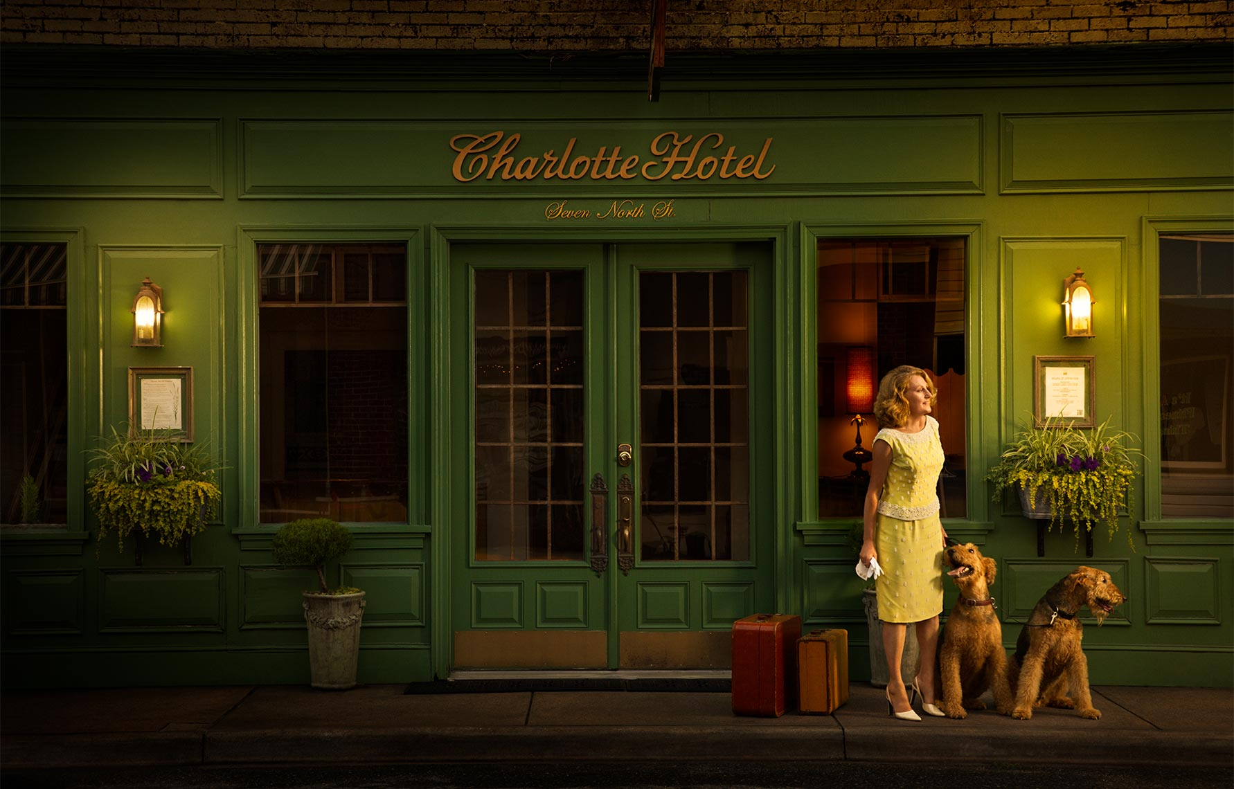 Charlotte, hotel, vintage, suitcase, Airedale