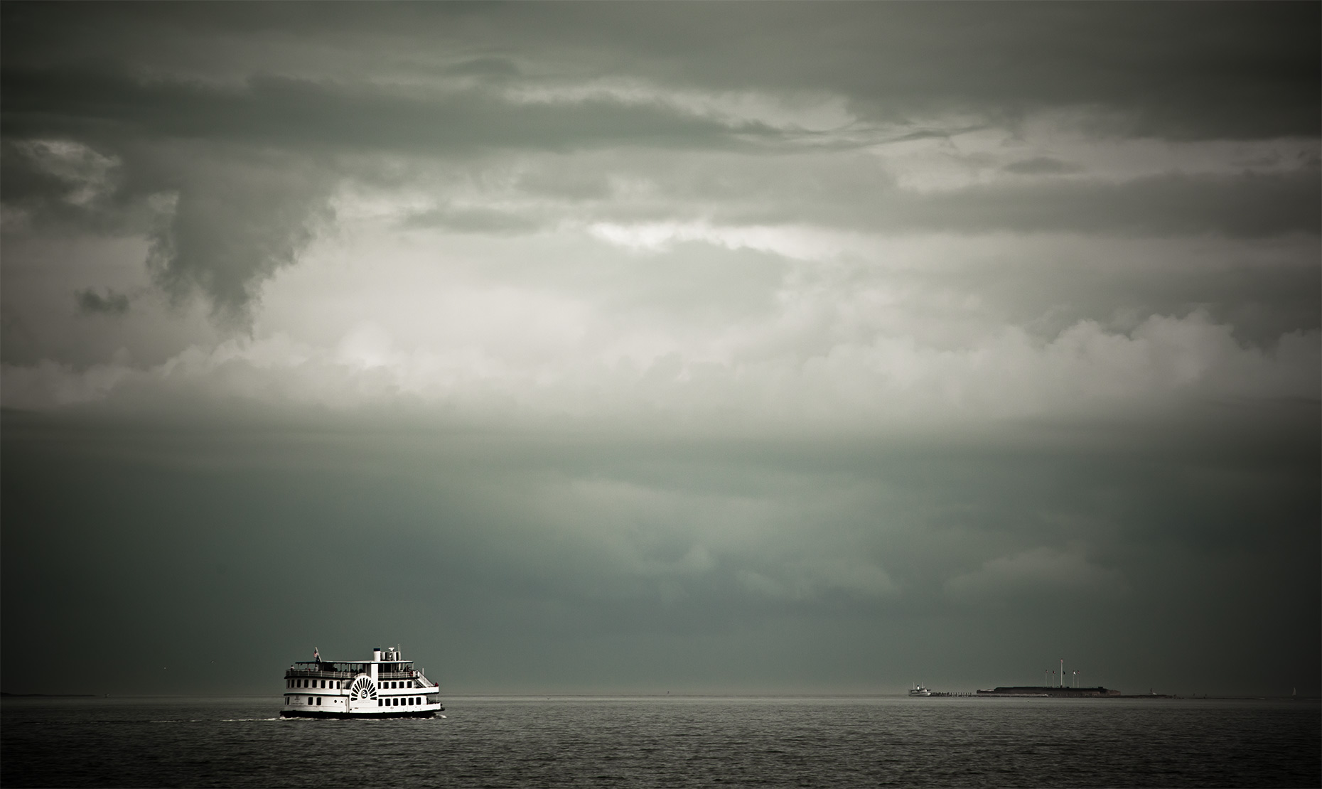 Fort Sumter, ferry, clouds