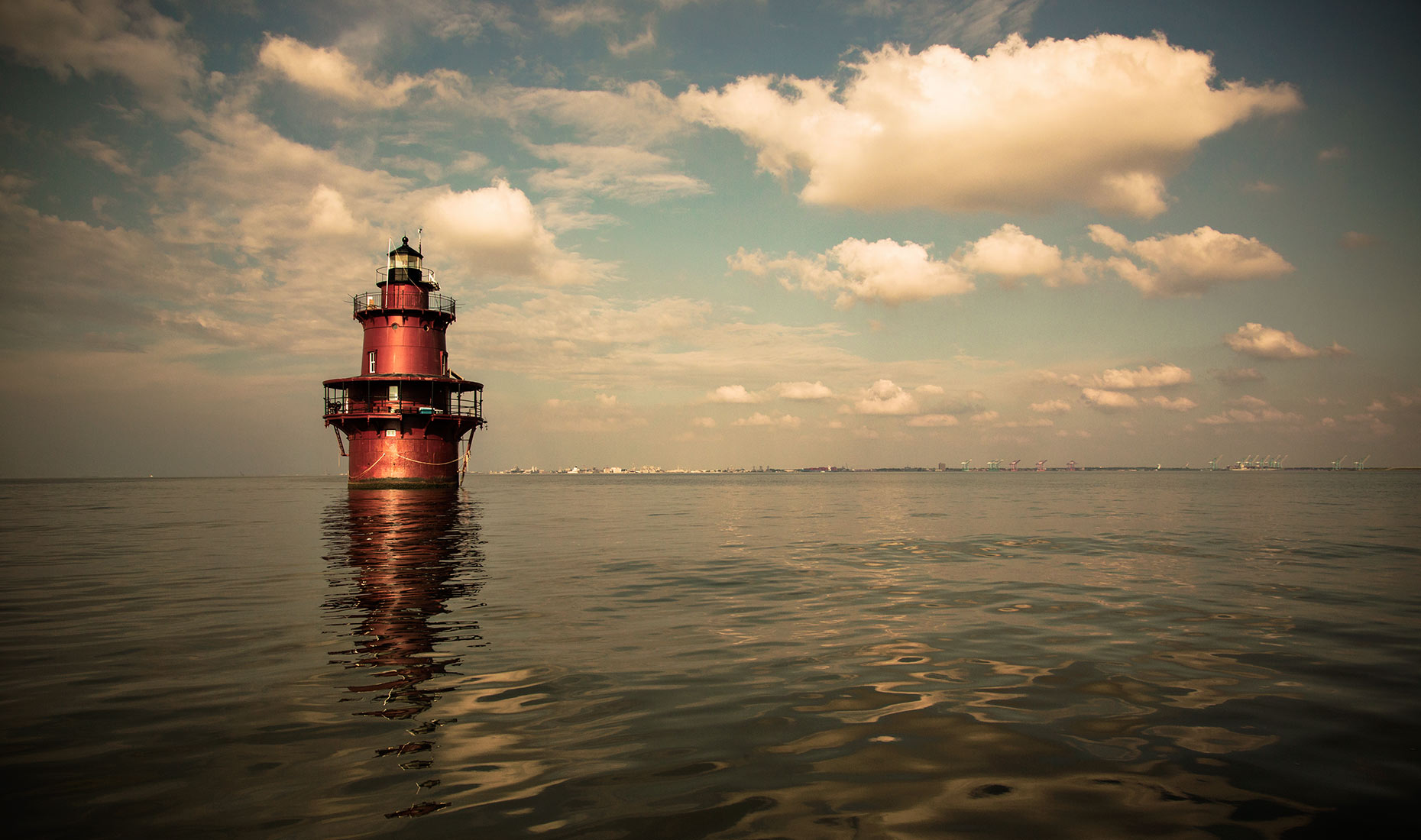 lighthouse, James River, Virginia, clouds