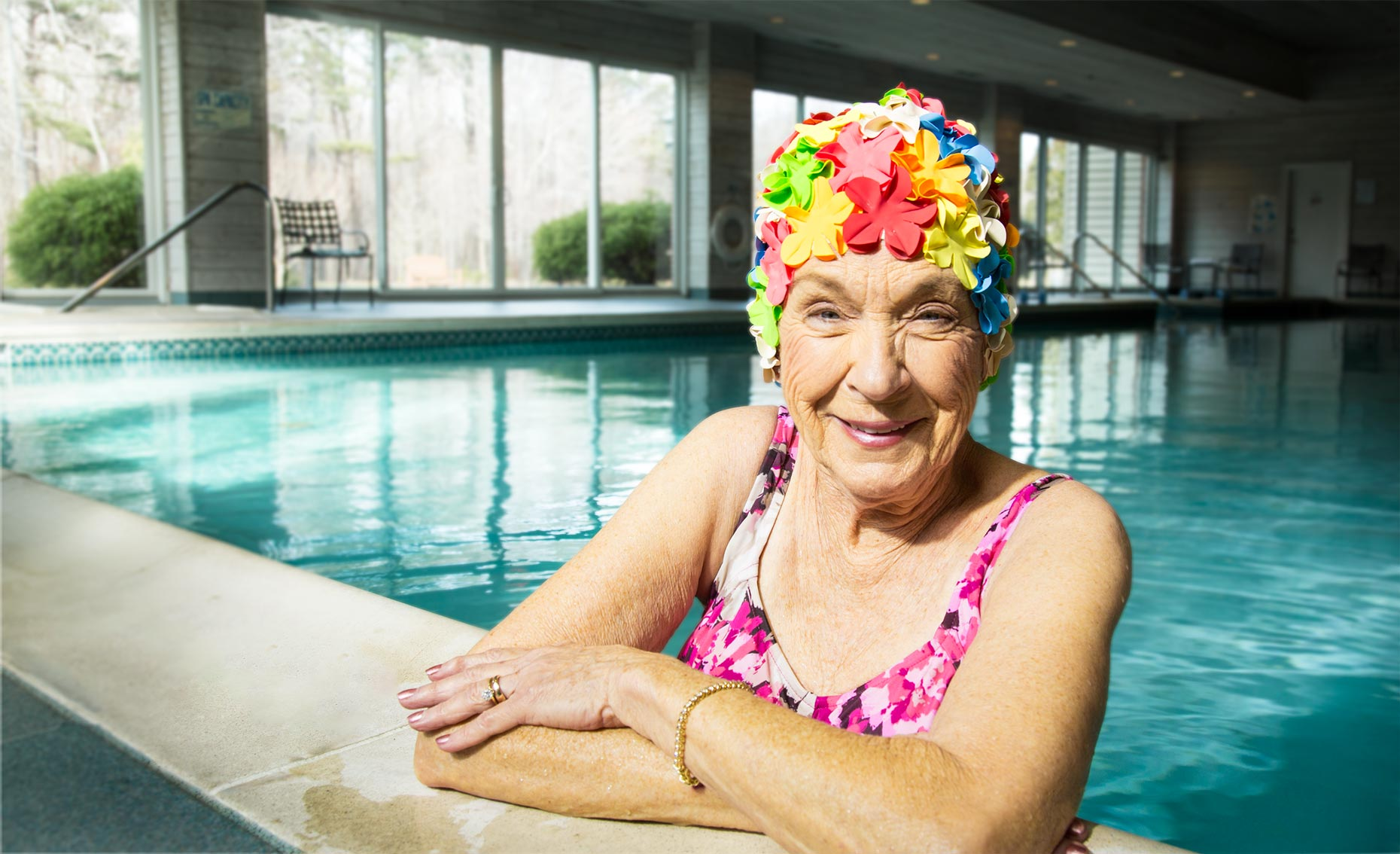Swimmer-elderly, woman, pool, bathing cap
